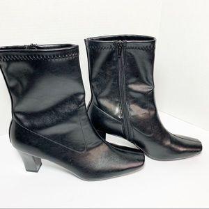 Aerosoles Geneva Blk Faux Leather Calf Boot NWOB